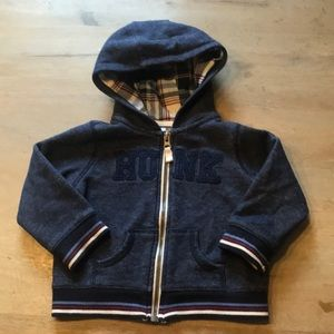 """Carters """"Hunk"""" boys zip up hoodie size 18 months"""